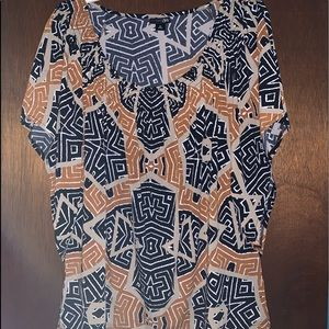 Bold Geometric Patterned blouse, East 5th, M